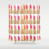 lipstick Shower Curtains featuring Lipstick! by Bouffants and Broken Hearts