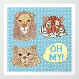 Lions & Tigers & Bears Art Print