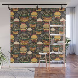 Graphic seamless pattern bright tasty burgers on a dark background Wall Mural
