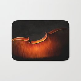 Silhouette of cello, musical painting Bath Mat