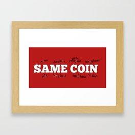 Same Coin - Red Framed Art Print