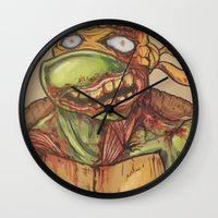 ninja turtle Wall Clocks featuring zombie ninja turtle by mileshustonart