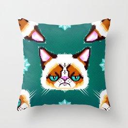 Grumpy Cat Geometric Pattern Throw Pillow