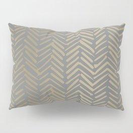 Herringbone, Boho, Mudcloth Pattern, Grey and Gold Pillow Sham