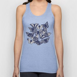 butterfly white Unisex Tank Top