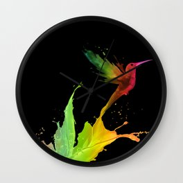 Colors Humming Bird (black bg) Wall Clock
