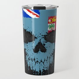 Flag of Fiji on a Chaotic Splatter Skull Travel Mug