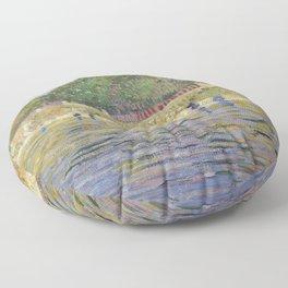 Bank of the Seine by Vincent van Gogh Floor Pillow