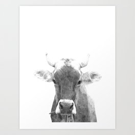 Cow black and white animal portrait Art Print