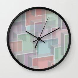 Lucite Blocks Pastel pink, green, blue, purple Wall Clock