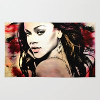 rihanna Area & Throw Rugs featuring rihanna by mark ashkenazi
