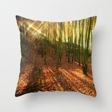 Glittering forest Throw Pillow