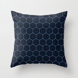 Indigo Honeycomb Sashiko Throw Pillow