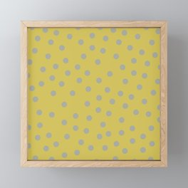 Simply Dots Retro Gray on Mod Yellow Framed Mini Art Print