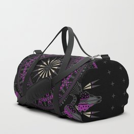 Buffalo Skull and Feathers (Purple) Duffle Bag