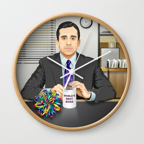 steve carell as michael scott (the office) wall clockleo maia