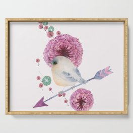 Cute Bird and Dandelion Serving Tray