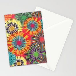 Bright Colorful Abstract Flowers Stationery Cards