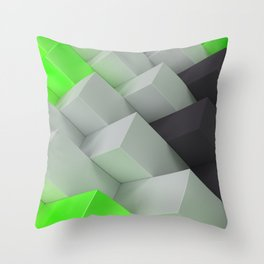 Pattern with black, white and green blocks Throw Pillow