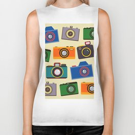 colourful retro cameras Biker Tank