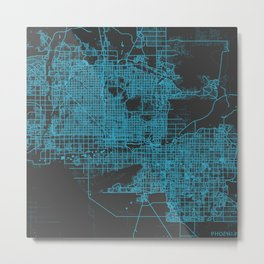 Phoenix map blue Metal Print
