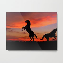 Horse Sunset Metal Print