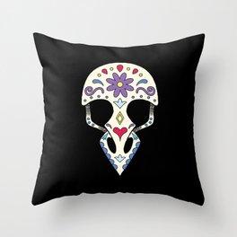 Bird sugar skull Throw Pillow