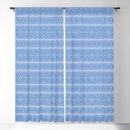 Cornflower Blue Geometric Abstract Pattern Blackout Curtain