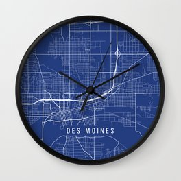 Des Moines Map, USA - Blue Wall Clock
