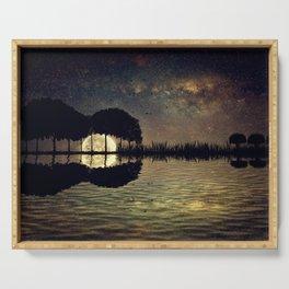 guitar island moonlight Serving Tray