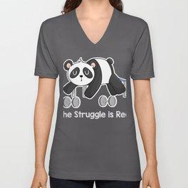 Fitness Panda Exercise Struggle is Real Unisex V-Neck