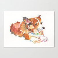 corgi Canvas Prints featuring Corgi by permanentmagenta
