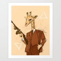 gangster Art Prints featuring Gangster Giraffe by Ichorteeth