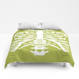 Human Rib Cage Pattern Chartreuse Green 2 Comforters