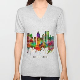 Houston Texas Skyline Unisex V-Neck