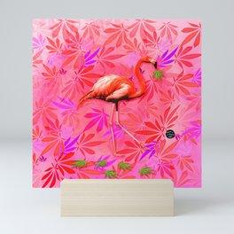 Blushing Cannabis Flamingo Mini Art Print