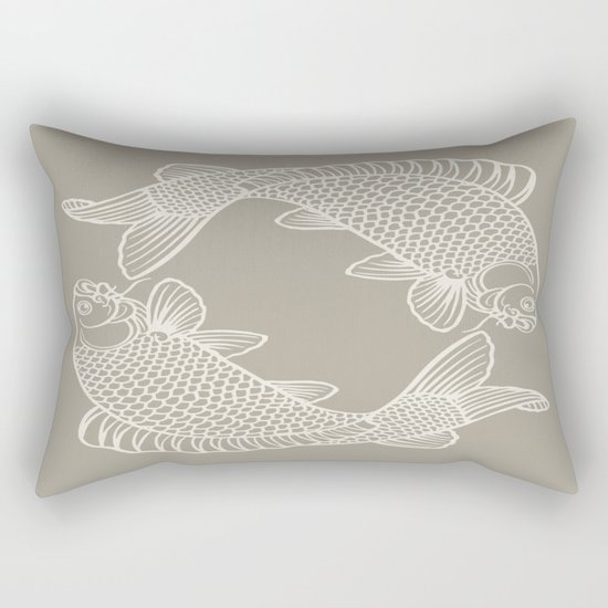 Gray Grey Alabaster Koi Fishes Rectangular Pillow