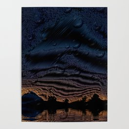 Metalized Arizona Mountains with Water Effect Poster