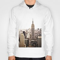 new york skyline Hoodies featuring New York City Skyline by Vivienne Gucwa