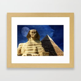 Sphinx  and Pyramid Framed Art Print