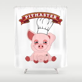 Pitmaster Pig Piggy BBQ Barbecue Pulled Pork Shower Curtain