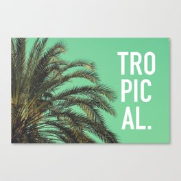 Vintage summer tropical typography palm tree photography Canvas Print