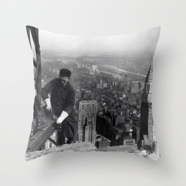 Construction worker Empire State Building NYC Throw Pillow