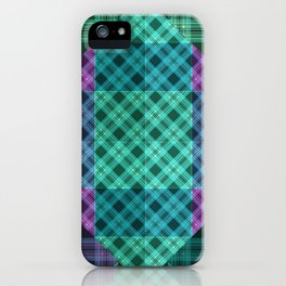 Turquoise green plaid iPhone Case