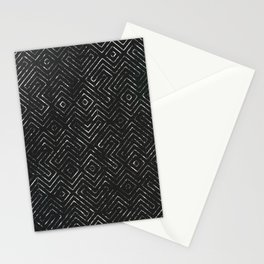 Abstract Geometric Tile Pattern in Black Stationery Cards