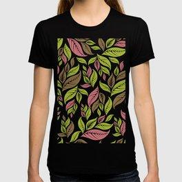 Retro Vintage Inspired Leaf Print in Modern Pink Green Brown T-shirt