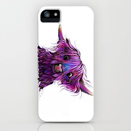 HiGHLaND CoW PRiNT SCoTTiSH ' HuCKLeBeRRY W ' BY SHiRLeY MacARTHuR iPhone Case