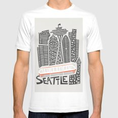 Seattle Cityscape White MEDIUM Mens Fitted Tee