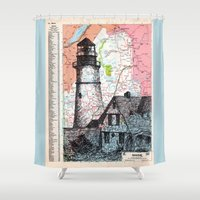 maine Shower Curtains featuring Maine by Ursula Rodgers