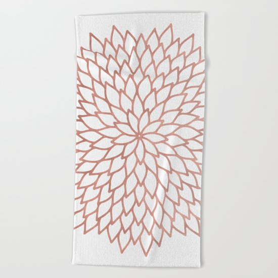 Mandala Flower Rose Gold on White Beach Towel